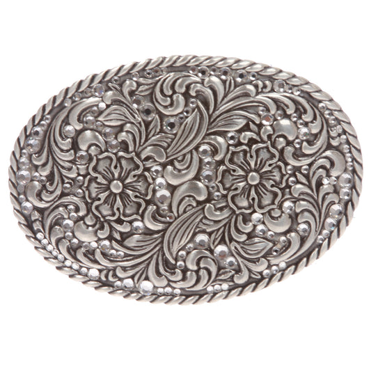 Western Silver Rose Filigree with Rhinestones Oval Belt Buckle