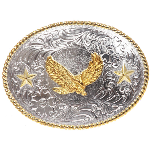 Western Cowboy Silver Buckle with Gold Soaring Eagle