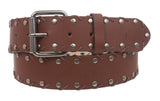 "1 1/2"" Snap on Antique Silver Studded Leather Belt"