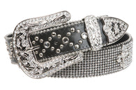 Snap on Western Cowgirl Rhinestone Fleur De Lis Leather Belt