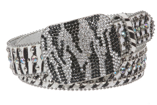 Faux Animal Print Genuine Leather Studded Belt with Crystal Buckle