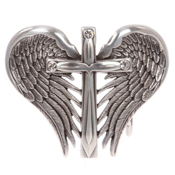 Women's Western Silver heart and Winged Cross Belt Buckle