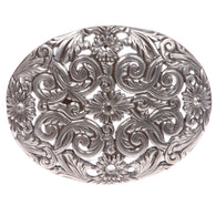 Western Rhinestone Silver Perforated Sunflower Filigree Oval Buckle
