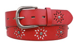 Women's Snap on Perforated Laser Cut Studded Leather Belt