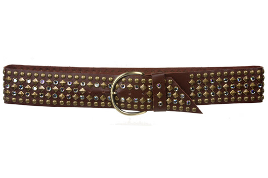 Ladies 2 1/4 Inch Rhinestone Studded Genuine Leather Sash Belt