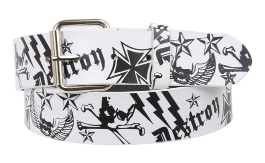 Snap On Pirate and Cross Bone White Pebble Print Leather Belt - Interchangeable buckle