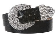 Womens Snap On Western Crocodile Print Rhinestone Leather Belt