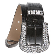 Ladies Snap On Western Crocodile Print Rhinestone Belt