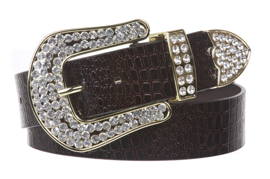 Ladies Snap On Western Alligator Rhinestone Leather Belt