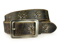 Snap on Genuine Vintage Retro Top Grain Cowhide Studded Leather Belt