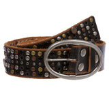 Snap on Beveled edged Vintage Retro Top Grain Cowhide Studded Leather Belt