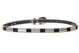 "3/4"" Skinny Rhinestone Faux Alligator Patent Leather Belt"