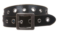 Square Buckle Grommets Vintage Distressed Leather Jean Belt