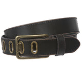 "35 mm (1 3/8"") Vintage Retro Stitching-Edged Distressed Solid Leather Belt"