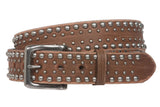 "1 1/2"" Snap on Antique Silver Circle Metal Studded Distressed Leather Belt"