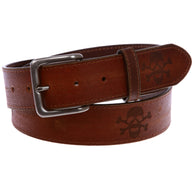 Snap On Vintage Stitching-Edged Distressed Embossed Skull & Cross Bones Leather Belt