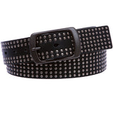 "1 1/2"" Snap on Tiny Circle Studded Genuine Leather Belt"