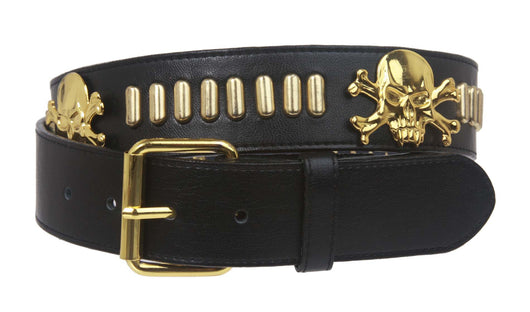 Snap On Pirates Skull Cross Bones and Brass Rectangular Studded Stitching-Edged Leather Belt