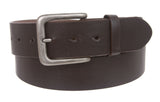"Snap On 1 1/2"" Rectangular Plain Leather Belt"