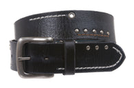 Western Vintage Stitching Studded  Decoration Genuine Leather Casual Belt