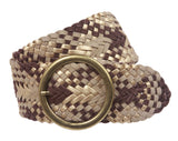 "2 3/4"" Wide Braided Woven Soft Suede Leather Belt with Metal Circle Ring Buckle"