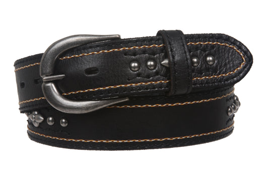 Snap On Stitching-Edged Floral Rivet Cowhide Leather Belt