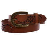 Snap On Soft Vintage Cowhide Full Grain Leather Floral Perforated Casual Belt