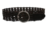 "Women's 3"" Wide Perforated Waist Braided Woven Solid Vintage Leather Round Belt"
