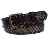 "1 1/2"" Unisex Snap On Nail Heads Punk Rock Star Studded Solid Leather Belt"