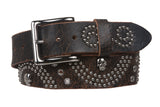 "1 1/2"" Snap On  Skull Metal Studded Distressed Leather Belt"