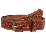 Snap On Soft Hand Floral Embossed Vintage Cowhide Full Grain Leather Casual Belt
