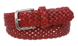 "Women's 1 3/8"" Braided Woven Solid Leather Belt"