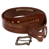 Snap On Floral Embossed Stitching Full Grain Leather Belt