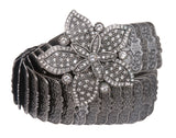 Double Layer Rhinestone Floral Nickel Free Elastic Sequent Metal Stretch Belt