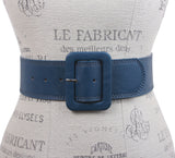 "Women's 2 1/4"" Wide High Waist Stitch Rectangular Leather Belt"