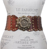 Women's Wide High Waist Full Grain Leather Studed Link Belt