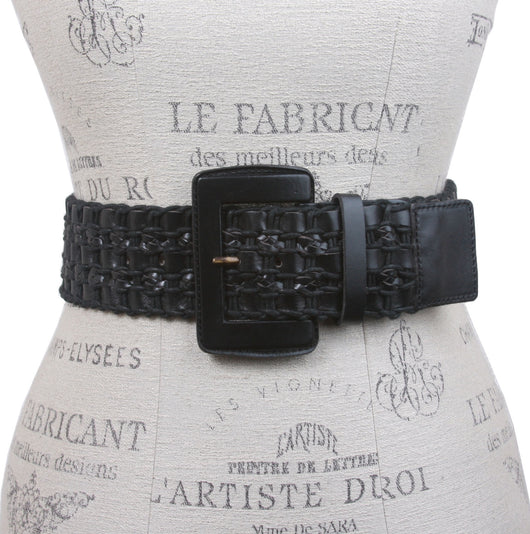 Women's High Waist Braided Woven Full Grain Leather Belt