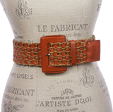 "Women's 2 3/8"" or 60 mm Wide High Waist Braided Woven Full Grain Leather Belt"