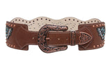 Women's Wide Western High Waist Wings & Heart Rhinestone Leather Belt