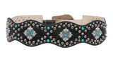 Women's High Waist Alligator Cowgirl Rhinestone Turguoise Leather Belt
