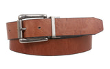 "Men's 1 1/4"" (32 mm) Cowhide Rectangular Solid Leather Black & Brown Reversible Dress Belt"