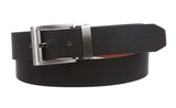 "Men's 1 1/4"" (32 mm) Cowhide Solid Leather Black & Brown Reversible Clamp Dress Belt"