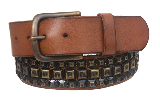Snap On Three Row Punk Rock Star Metal Distressed Brass Studded Vintage Full Grain Leather Belt