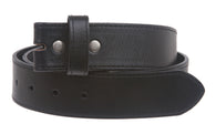 Snap On Cowhide Full Grain Stitching-Edged Leather Belt Strap