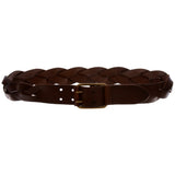 "1 3/4"" Double Prong Braided One Piece Cowhide Top Full Grain Leather Belt"