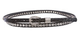 "7/16"" (12 mm) Skinny Rhinestone Croco Alligator Print Double Wrap Belt"