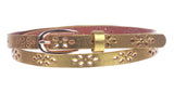 "Women's 1/2"" (12mm) Skinny Perforated Floral Hollow Out One Piece Cowhide Full Grain Leather Belt"