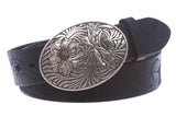 "1 1/2"" Snap On Soft Hand Floral Engraving Embossed Full Grain Leather Belt"