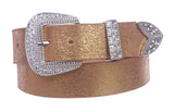 "Snap On 1 1/2"" Crack Print Vintage Retro Leather Belt with Rhinestone Buckle"