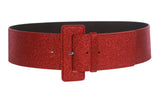Ladies High Waist Wide Glitter Fashion Plain Leather Belt